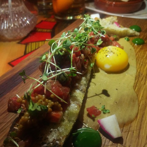 dry aged tartare at butcher and the rye, pittsburg