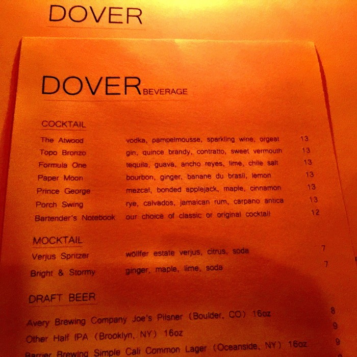 Dover Cocktail Menu