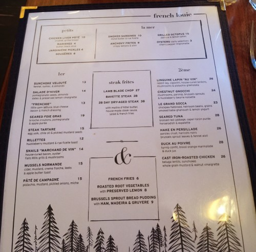 The Menu at French Louie