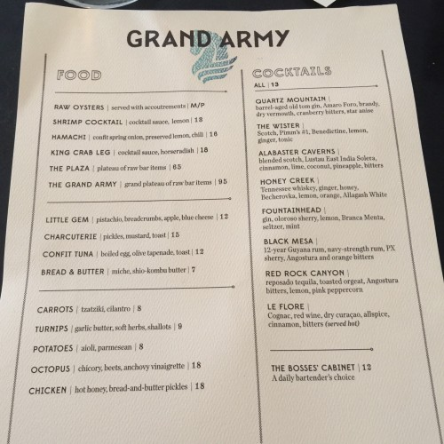 Grand Army Bar Food and Drink Menu