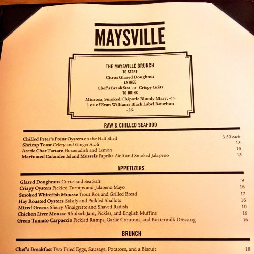 Maysville Brunch Menu Top