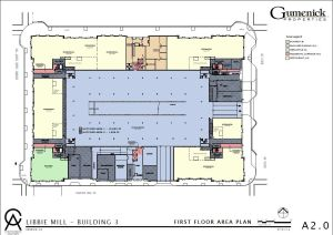 This schematic shows the ground-level view of the retail-apartment building planned for Libbie Mill-Midtown.