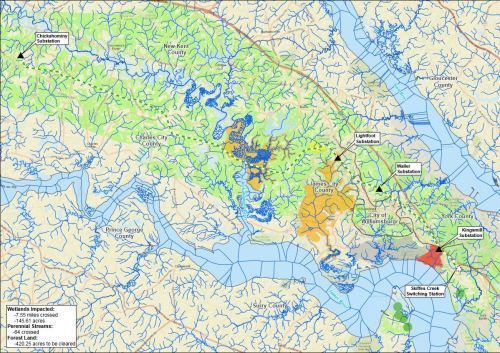 Streams and wetlands along the rejected Chickahominy-Skiffes route. Map source: Dominion Virginia Power