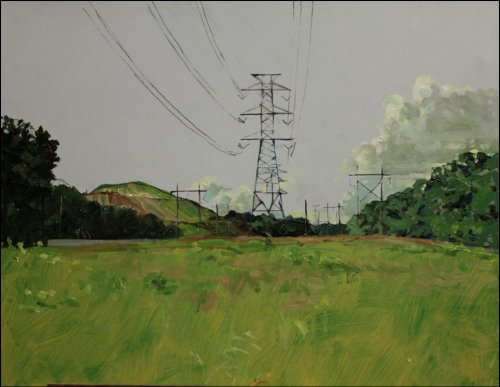 Electric transmission line painting by Thomas Van Auken