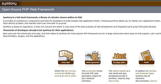 Symfony is a Web application framework for PHP projects. It aims to speed up the creation and maintenance of Web applications, and to replace the repetitive coding tasks by power, control and pleasure. Symfony is easy to install on any configuration; you just need Unix or Windows with a Web server and PHP installed. It is compatible with almost every database system.