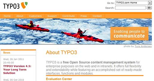 TYPO3 is a free Open Source CMS for enterprise purposes on the Web and in intranets. It offers full flexibility and extendability while featuring an accomplished set of ready-made interfaces, functions and modules.
