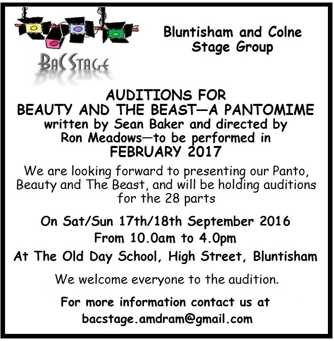 Beauty auditions 17th-18th September