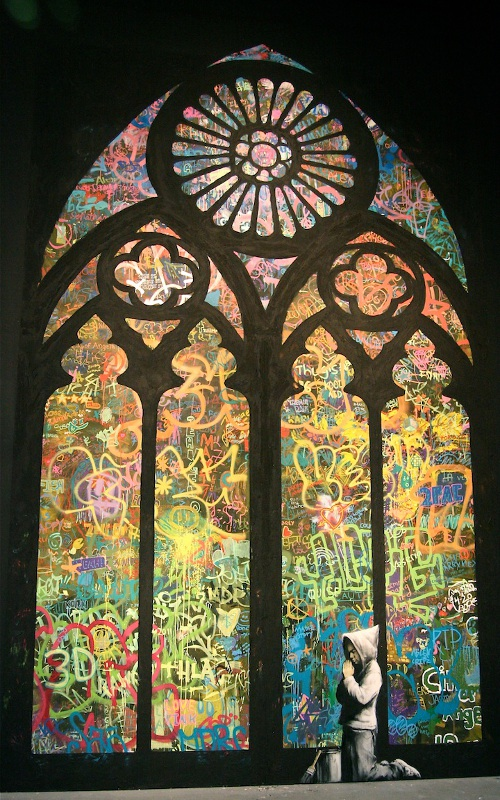 Street cathedral by Banksy