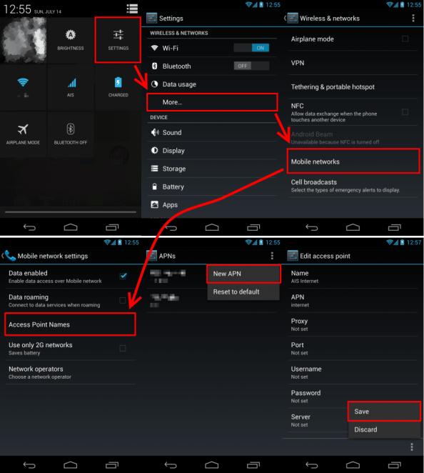 ตั้งค่า AIS 3G 2100 บน Nexus 4