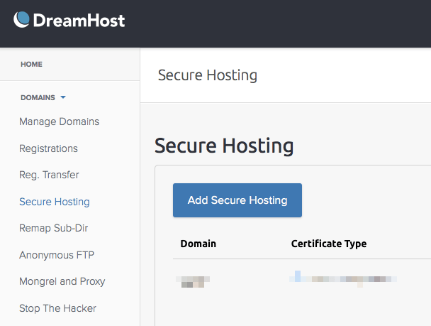 Add secure hosting in Dreamhost