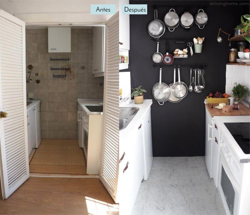 Antes y despues casa cocina