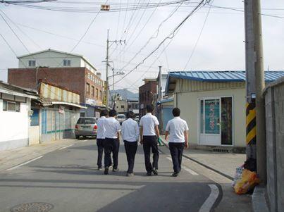 High school boys skipping class