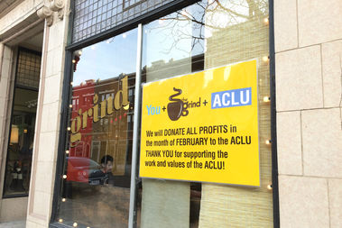 The cafe is donating all of its profits in February to the ACLU.
