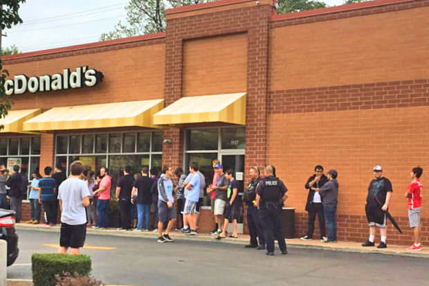 Fans waiting in line at a Howard Street McDonald's on the border of Rogers Park and West Ridge.