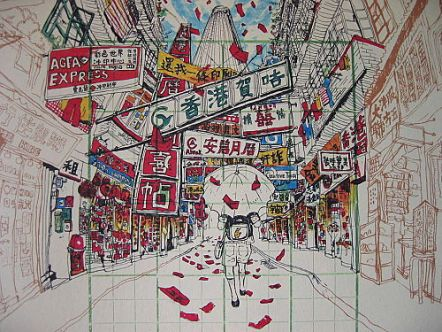 "Drawing of the old Lee Tung Street from ""粉末都市 - 消失中的香港"" (The Crushed City – Hong Kong is Disappearing"")"