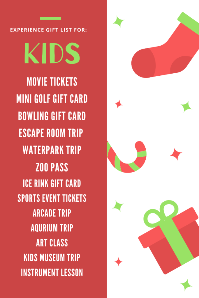 list of experience gifts for kids