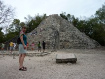 "Ruins at Coba. This is the the Nohoch Mul pyramid (which means, appropriately, ""big mound,""), one of few you can still climb."