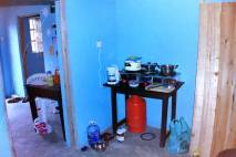 This was my kitchen: propane two-burner stove, a coffee maker, and a jug of water.