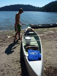 Josh loading up the canoe.