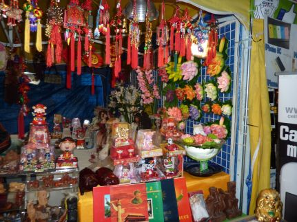 A more traditional Asian market booth.