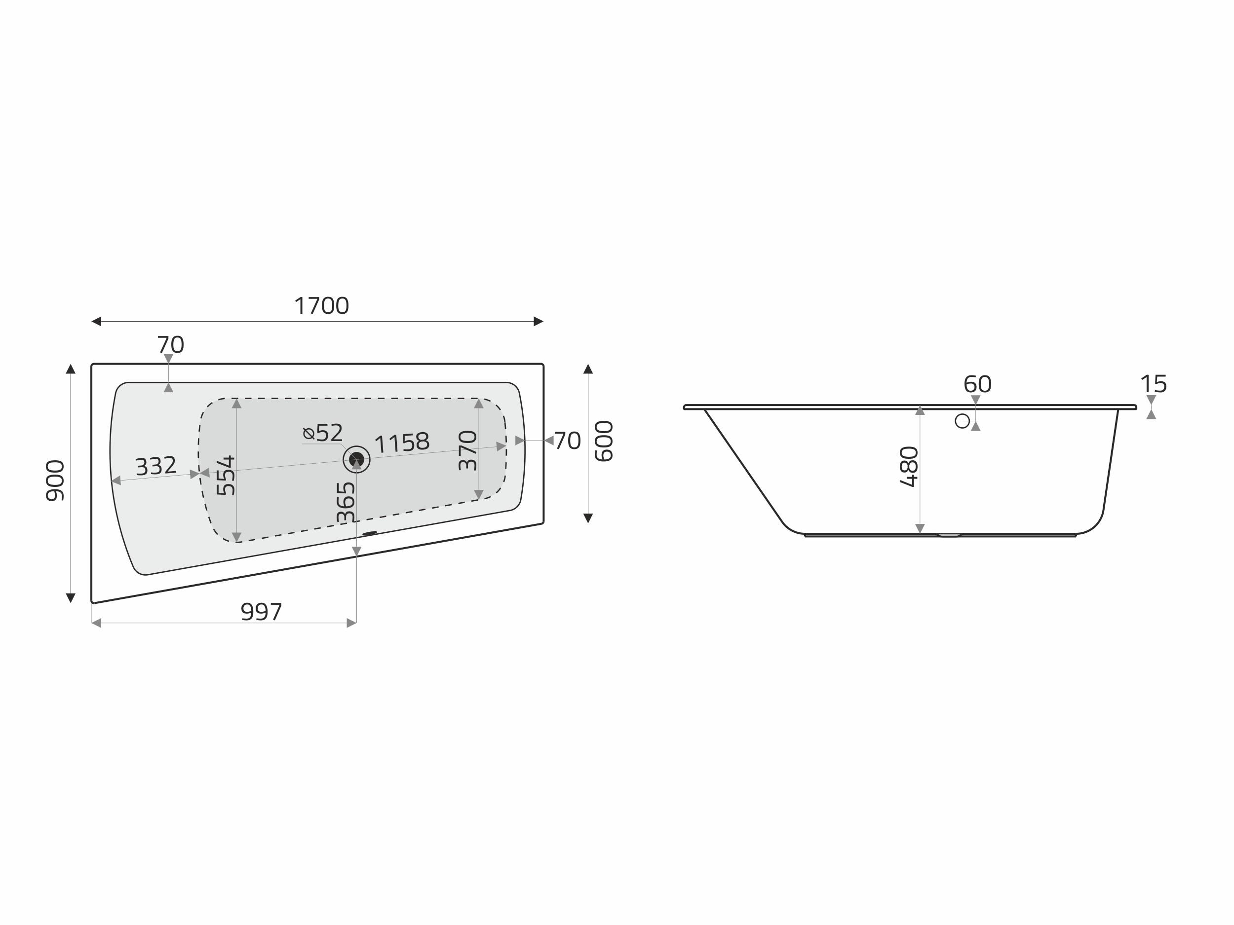 Vita Modular Acryl Trapez Badewanne 170x90 60 Re Cm F Whirlsysteme Weiss Badisto