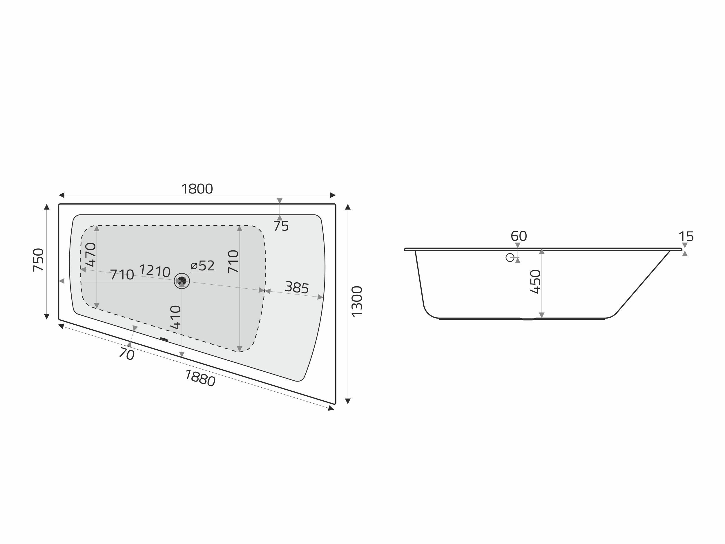 Vita Modular Acryl Trapez Badewanne 180x130 75 Li Cm F Whirlsysteme Weiss Badisto