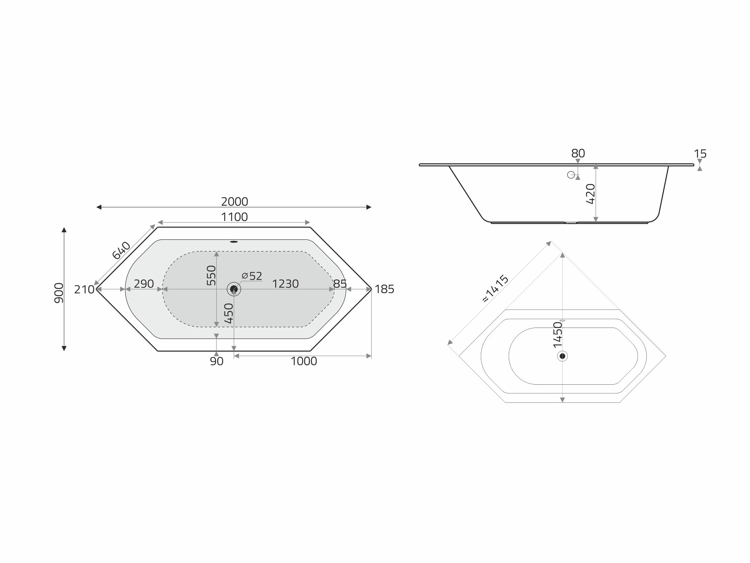 Vita Modular 6 Eck Acryl Badewanne 200x90cm Fur Whirlsysteme Weiss Badisto