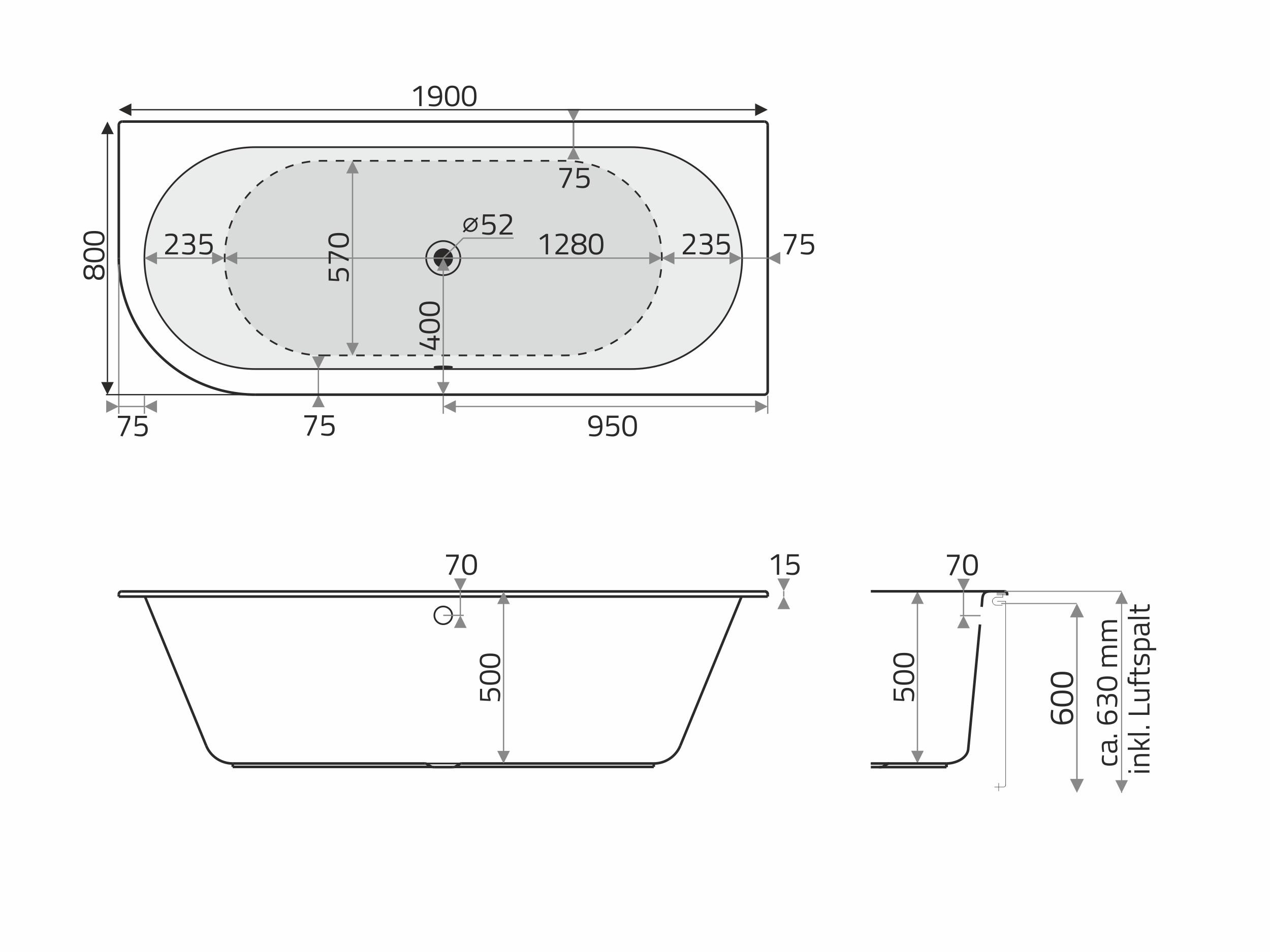 Vita Modular Acryl Badewanne D Form 190x80cm Rundung Links Weiss Badisto