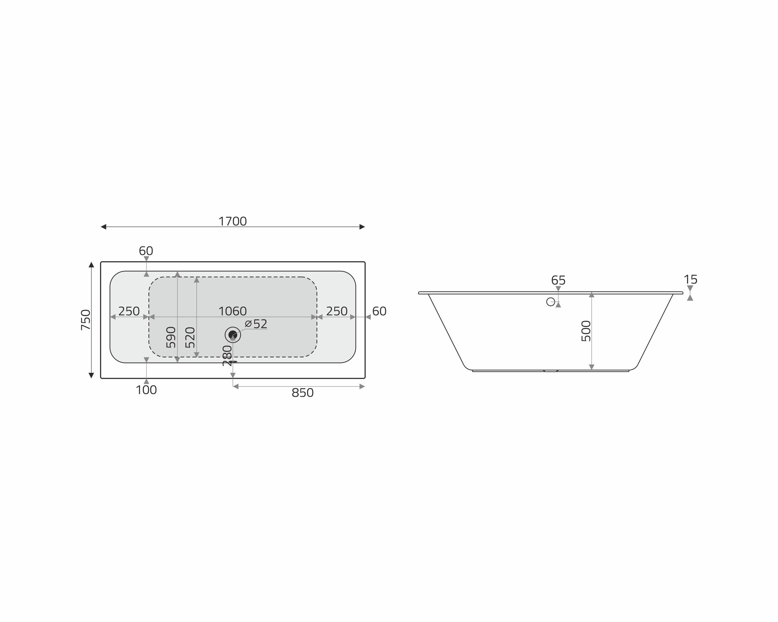 Vita Modular Acryl Badewanne 170x75cm Mittelablauf Weiss Badisto