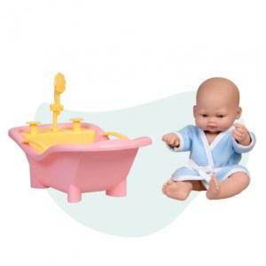 Falca babypop Mini Baby met badkuip 28 cm roze