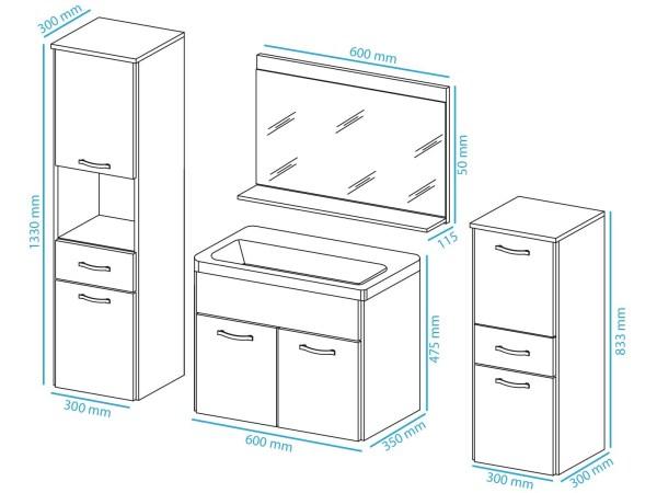 Complete badkamer ALBATOR 6 deuren 2 lades bodega pijnboom/hoogglans wit