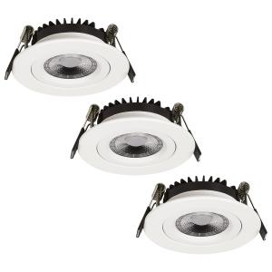 Set van 3 stuks LED inbouwspots Rome wit IP44 6 Watt 2700K dimbaar kantelbaar 5 jaar garantie