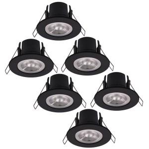 6x Nola LED inbouwspot zwart IP65 5W 2700K warm wit dimbaar 5 jaar garantie