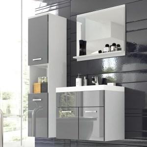 Complete badkamer MONTELIO 4 deuren wit/hoogglans grijs met bassin