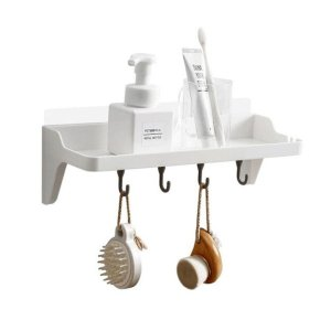 Decopatent® Badkamerrek opbergrek 1 Legplank en 4 Ophanghaken - Zoner boren - Keuken - Badkamer - Toilet - Wandplank met Plakstrip