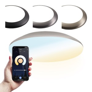 LED Plafondlamp/Plafonniere WiFi + Bluetooth 18W Lichtkleur instelbaar - 1900lm - IK10 - Ø30 cm - Chroom - IP65