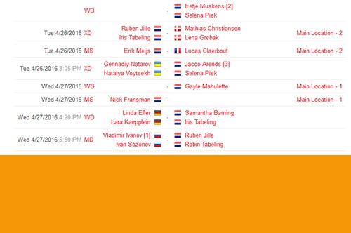 Schema Nederlandse deelnemers EK2016 badminton
