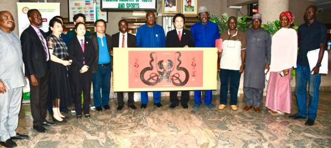 BADMINTON FEDERATION OF NIGERIA (BFN) LEADS CHINESE DELEGATION ON COURTESY VISIT TO THE MINISTER OF YOUTH AND SPORTS