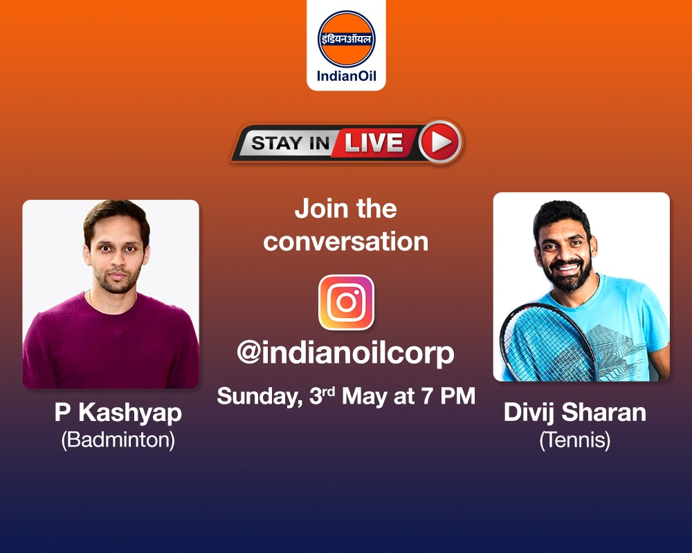 EW7ZFhdUcAE3dhO 1 - Catch Tennis ace amp Badminton star in conversation in our next StayInLive session this Sunday, 3rd May at 7 PM on . You can leave your questions in the comments below. ProudToBeAnIOCian StayHomeStaySafe