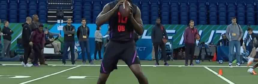 Quarterback Lamar Jackson at NFL combine