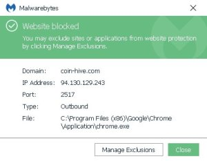 Malwarebytes detects Coinhive