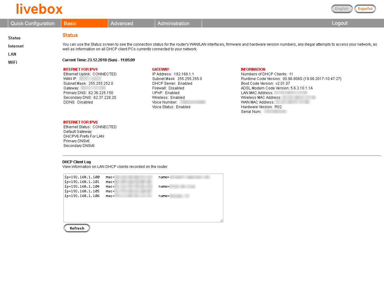 Example Livebox modem status page