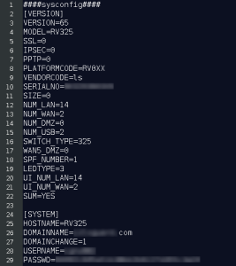 All configuration details of the RV320/RV325 router are exposed by this vulnerability.