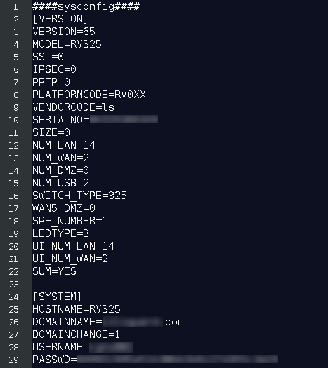 All configuration settings of the RV320/RV325 routers are exposed by this vulnerability.