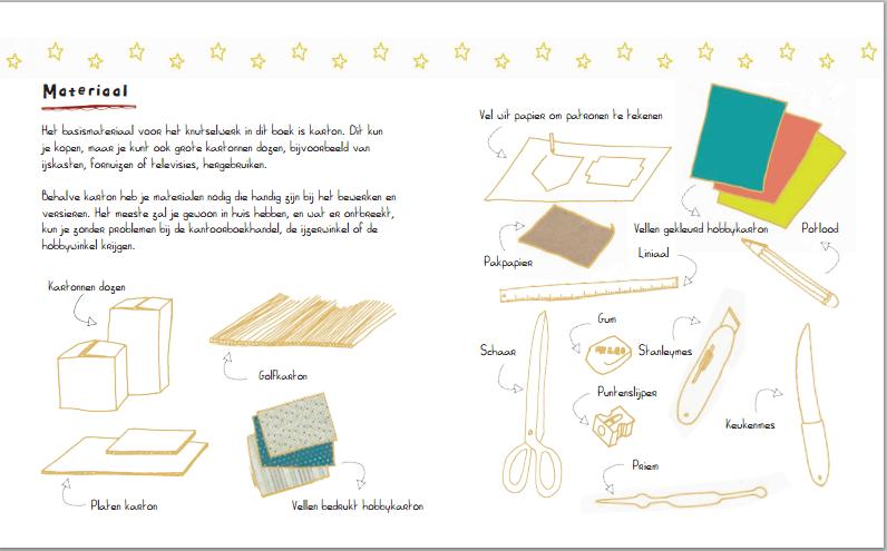 van karton boek _voorbeeld pagina materialen