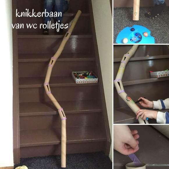 Maak een knikkerbaan van wc rolletjes op je trap! Hierdoor gaan de knikkers super snel! Met dit foto stappenplan heb je hem zo gemaakt!