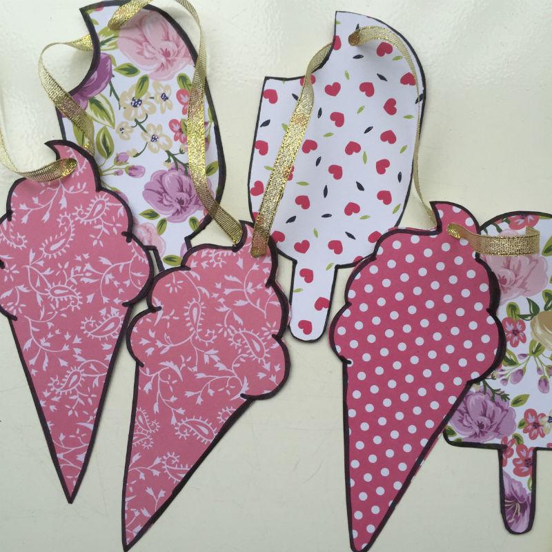 Slinger van ijsjes, ijsjesslinger,papieren slinger van ijs, ijs slinger, slinger van ijs maken