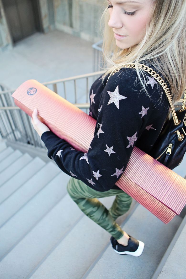 rose gold and camo workout outfit