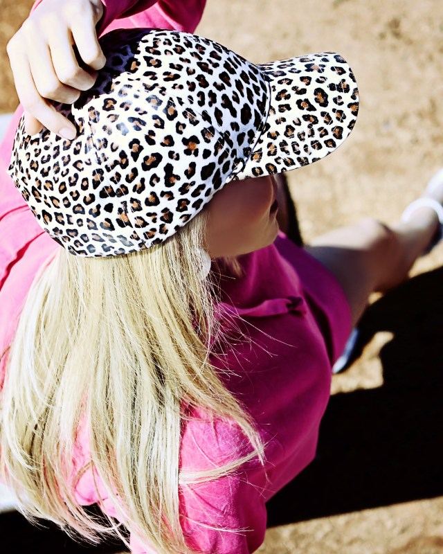 faux leather leopard print hat
