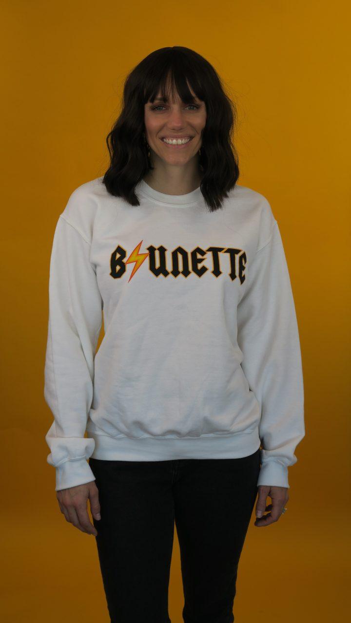 brunette bolt classic crewneck sweatshirt